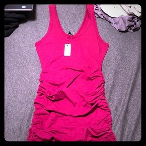 Magenta bodycon dress with ruching